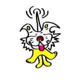 Uśmiechnięty żółty pies merda jego ogon śmiesznego Obrazy Stock