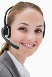 Uśmiechnięty żeński centrum telefoniczne agenta działanie Fotografia Royalty Free