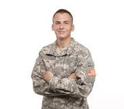 Szczęśliwy żołnierz na białym tle Zdjęcia Royalty Free