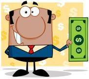 Amerykanina Afrykańskiego Pochodzenia business manager Trzyma Dolarowy Bill Zdjęcia Stock