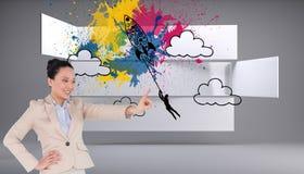 Uśmiechnięty azjatykci bizneswomanu wskazywać Obraz Royalty Free