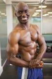 Uśmiechnięty bez koszuli mięśniowy mężczyzna pozuje w gym Obraz Royalty Free