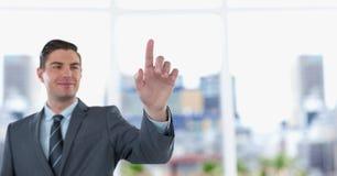 Uśmiechnięty biznesmen dotyka przejrzystego ekran Obraz Royalty Free