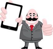 Uśmiechnięty biznesmen Pokazuje pastylkę lub Smartphone ilustracja wektor