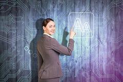 Uśmiechnięty biznesowej kobiety punkt ikona Zdjęcie Royalty Free