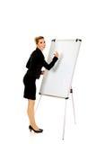 Uśmiechnięty biznesowej kobiety writing na flipchart Obraz Stock