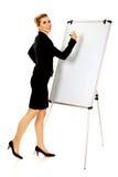 Uśmiechnięty biznesowej kobiety writing na flipchart Zdjęcie Stock