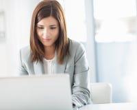 Uśmiechnięty bizneswoman przy Jej laptopem zdjęcia royalty free