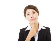 uśmiechnięty bizneswoman z główkowanie gestem Zdjęcie Royalty Free