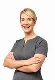 Uśmiechnięty bizneswoman Z rękami Krzyżować Zdjęcie Royalty Free