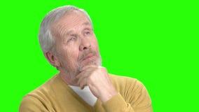 Uśmiechnięty brodaty mężczyzna główkowanie, zieleń ekran zdjęcie wideo