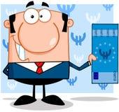 Uśmiechnięty business manager Trzyma Euro Bill Zdjęcie Stock