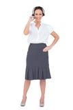 Uśmiechnięty centrum telefoniczne agenta działanie Zdjęcie Stock