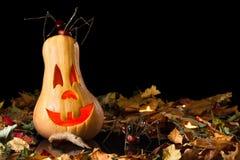 Uśmiechnięty dyniowy Halloween z pająkiem Obrazy Stock