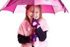 uśmiechnięty dziewczyna parasol Fotografia Royalty Free