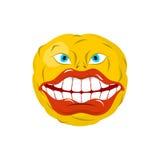 Uśmiechnięty emoticon Szalony emoji szczęśliwa jest emocja Żółta piłka ilustracji