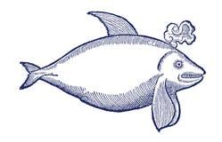 Uśmiechnięty i podmuchowy zabójcy wieloryb w profilowym widoku Ilustracja po dziejowego lub rocznika woodcut od 16th Obraz Stock