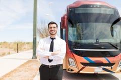 Uśmiechnięty kierowca autobusu W mundurze fotografia royalty free