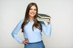 Uśmiechnięty kobieta ucznia, nauczyciela lub biznes damy mienie, rezerwuje zdjęcie royalty free