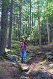 Uśmiechnięty kobieta w ciąży wycieczkuje w halnym lesie z plecakiem Zdjęcia Royalty Free