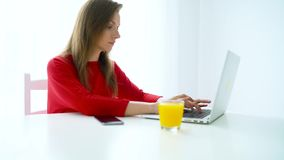 Uśmiechnięty kobiety obsiadanie przy białym działaniem na laptopie i ministerstwem spraw wewnętrznych zdjęcie wideo