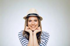 Uśmiechnięty kobiety twarzy portret twarzy dziewczyny macanie Fotografia Royalty Free