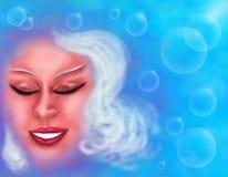 Uśmiechnięty kobiety twarzy sen barwi, od mój serii ` Magicznej kobiety, 2018 ` royalty ilustracja