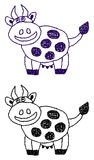 Uśmiechnięty krowa profil royalty ilustracja