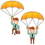 Uśmiechnięty mężczyzna spadek na złotym spadochronie z teczką Obraz Royalty Free