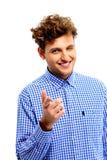 Uśmiechnięty mężczyzna wskazuje przy tobą Zdjęcia Stock