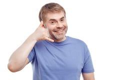 Uśmiechnięty mężczyzna wyraża positivity Zdjęcia Royalty Free
