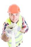 Uśmiechnięty męski konstruktor bierze jaźń portret Zdjęcia Royalty Free