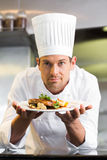 Uśmiechnięty męski szef kuchni z gotującym jedzeniem w kuchni Zdjęcie Royalty Free