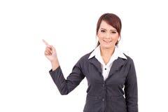 Uśmiechnięty młody biznesowej kobiety ręki punkt Zdjęcie Stock