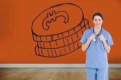Uśmiechnięty medyczny stażysta jest ubranym błękitnego shortsleeve mundur Zdjęcia Stock