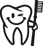 Uśmiechnięty mruganie ząb z toothbrush ilustracja wektor