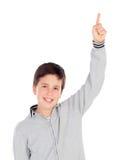 Uśmiechnięty nastoletni chłopak pyta mówić trzynaście fotografia royalty free