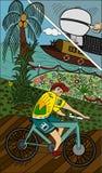 Uśmiechnięty nastoletni jeździecki bicykl Fotografia Royalty Free