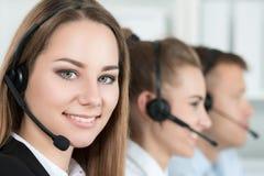 Uśmiechnięty obsługa klienta operator przy pracą Obraz Royalty Free