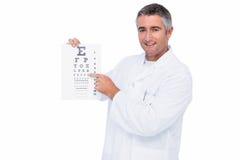 Uśmiechnięty okulista przedstawia oko test Fotografia Royalty Free