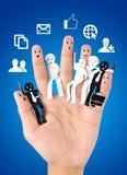 Uśmiechnięty palec dla symbolu biznesowa ogólnospołeczna sieć Obraz Stock