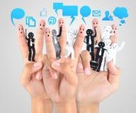 Uśmiechnięty palec dla symbolu biznesowa ogólnospołeczna sieć Zdjęcia Stock