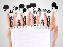 Uśmiechnięty palec dla symbolu biznesowa ogólnospołeczna sieć Obraz Royalty Free