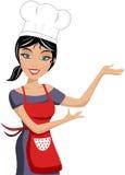 Uśmiechnięty Piękny kobieta szefa kuchni seans Fotografia Royalty Free