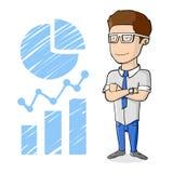 Uśmiechnięty pomyślny biznesmen stoi na Infographics stylu nakreśleniu z szkłami Fotografia Stock