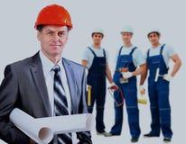 Uśmiechnięty pracownika budowlanego mężczyzna niebieski tła architekturę kompasowy głębokie rysunek Obraz Royalty Free
