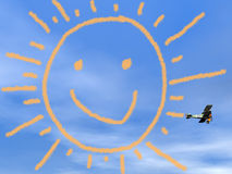 Uśmiechnięty słońce od biplan dymu - 3D odpłacają się Obraz Royalty Free