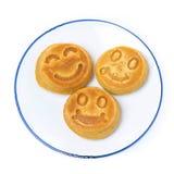 Uśmiechnięty smakowity kukurydzany blin, odgórny widok, odizolowywający Zdjęcia Stock