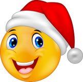 Uśmiechnięty smiley emoticon w kapeluszowym Santa royalty ilustracja