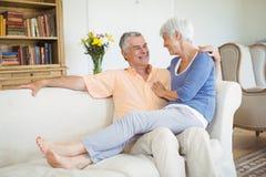 Uśmiechnięty starszy kobiety obsiadanie dalej obsługuje podołek w żywym pokoju fotografia stock